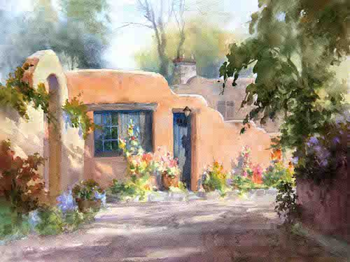 adobe house in watercolor